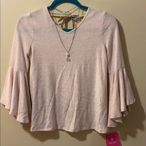 Girls size Large light pink sweater 3/4 sleeves